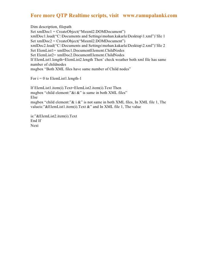 Qtp compare two xml files