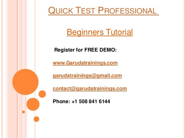 QTP Course for beginners by Garuda Trainings