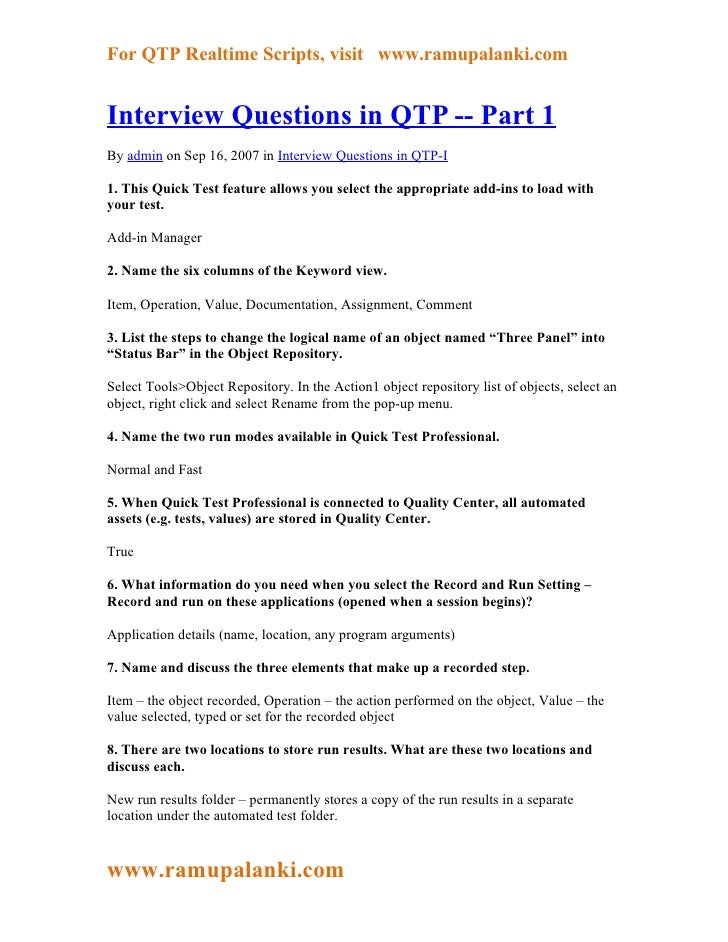 For QTP Realtime Scripts, visit www.ramupalanki.comInterview Questions in QTP -- Part 1By admin on Sep 16, 2007 in Intervi...