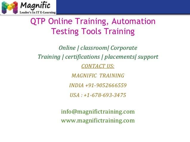 Qtp online training, automation testing tools training