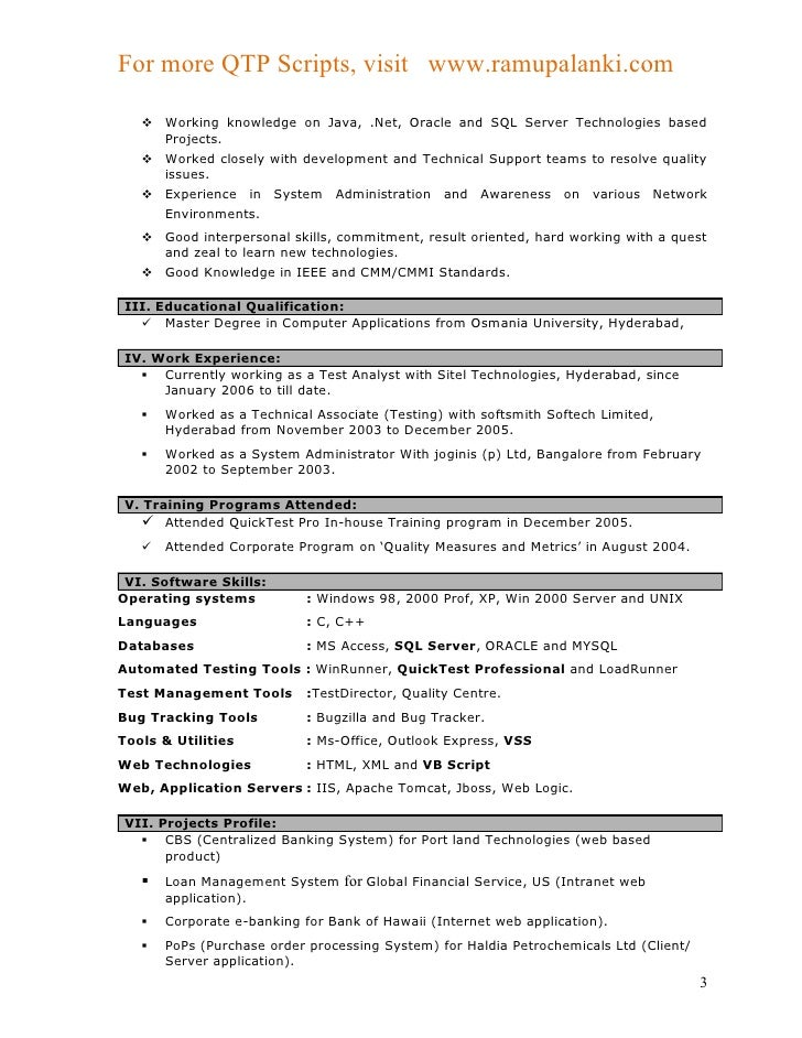 sle resume for 3 years experience in manual testing 100 manual