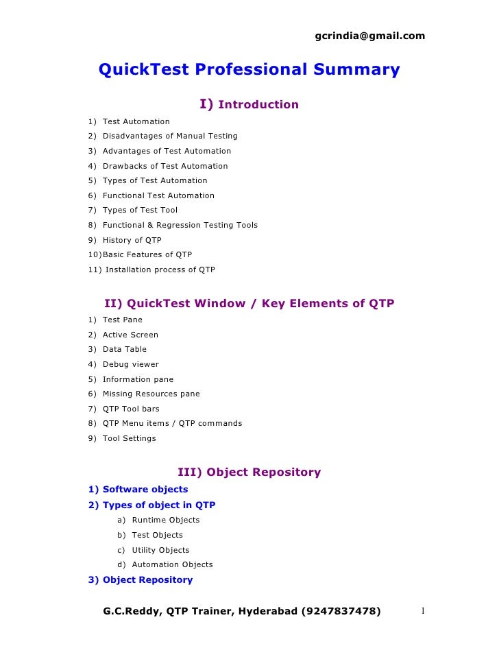 For QTP Scripts & QTP Documents visit: www.gcreddy.com          QuickTest Window / Key Elements of QTP  1) Test Pane 2) Ac...