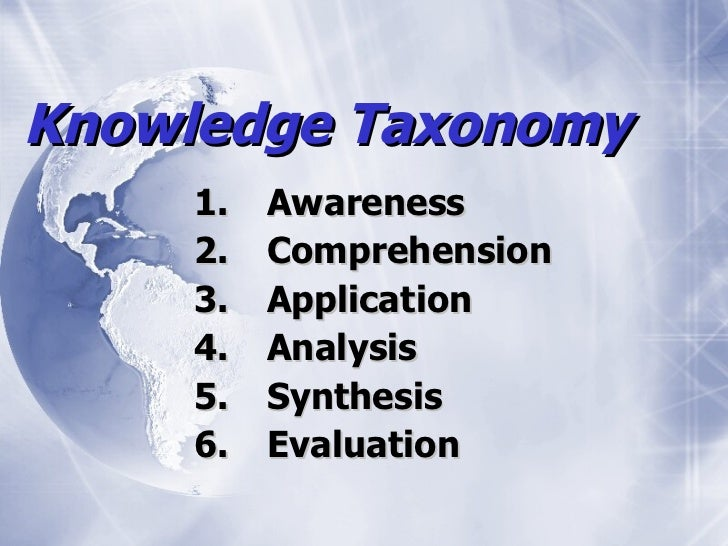 Knowledge Taxonomy     1.   Awareness     2.   Comprehension     3.   Application     4.   Analysis     5.   Synthesis    ...