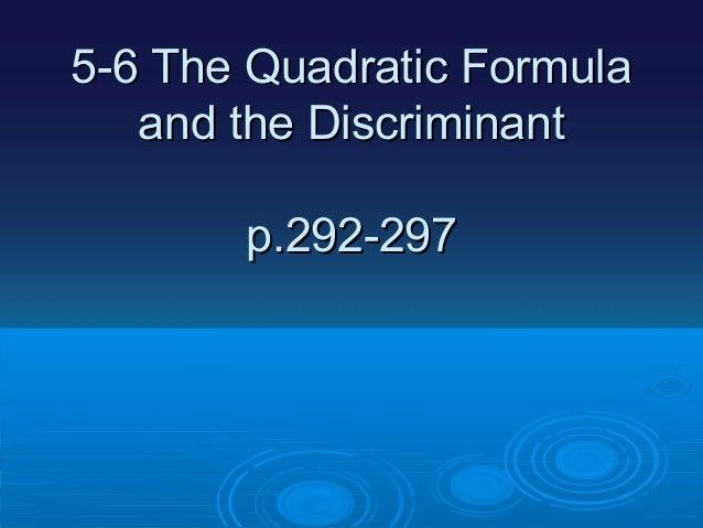 Quadratic eq and discriminant