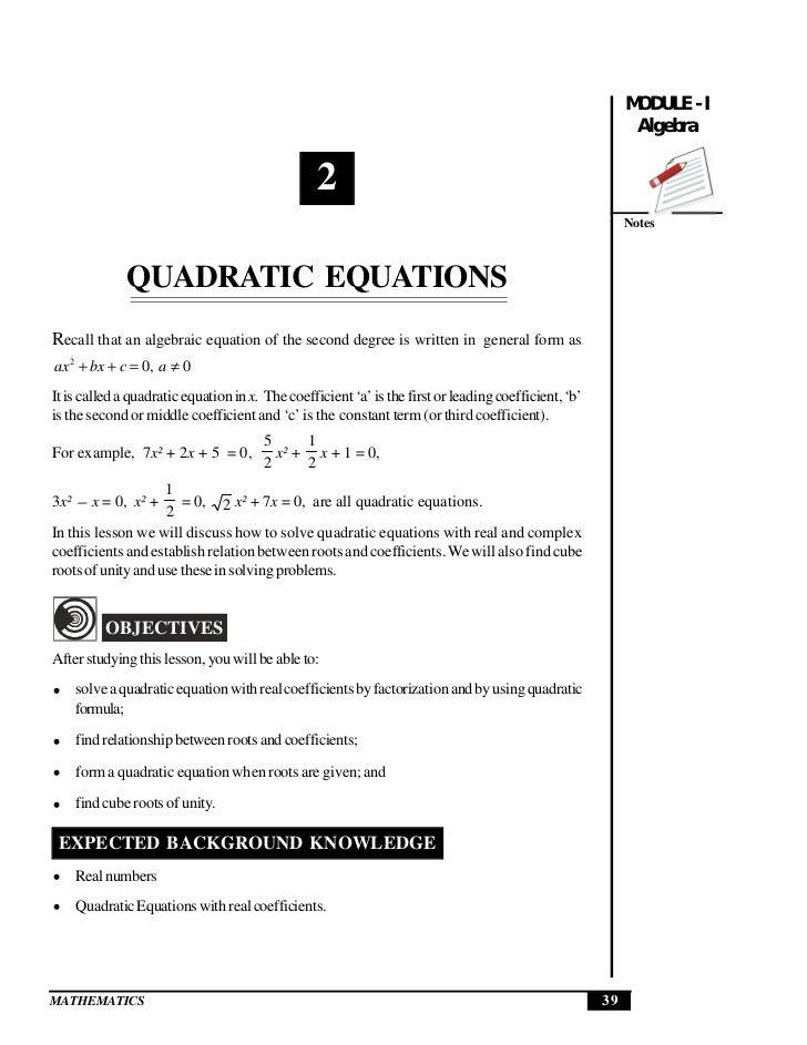 Quadratic Equations  Quadratic Equations                                                                                  ...