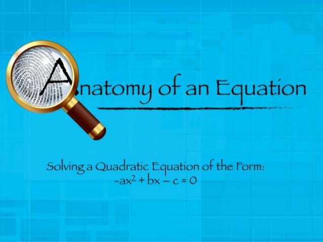 This Slide Show will show you the steps involved in solving a Quadratic Equation in Standard Form.