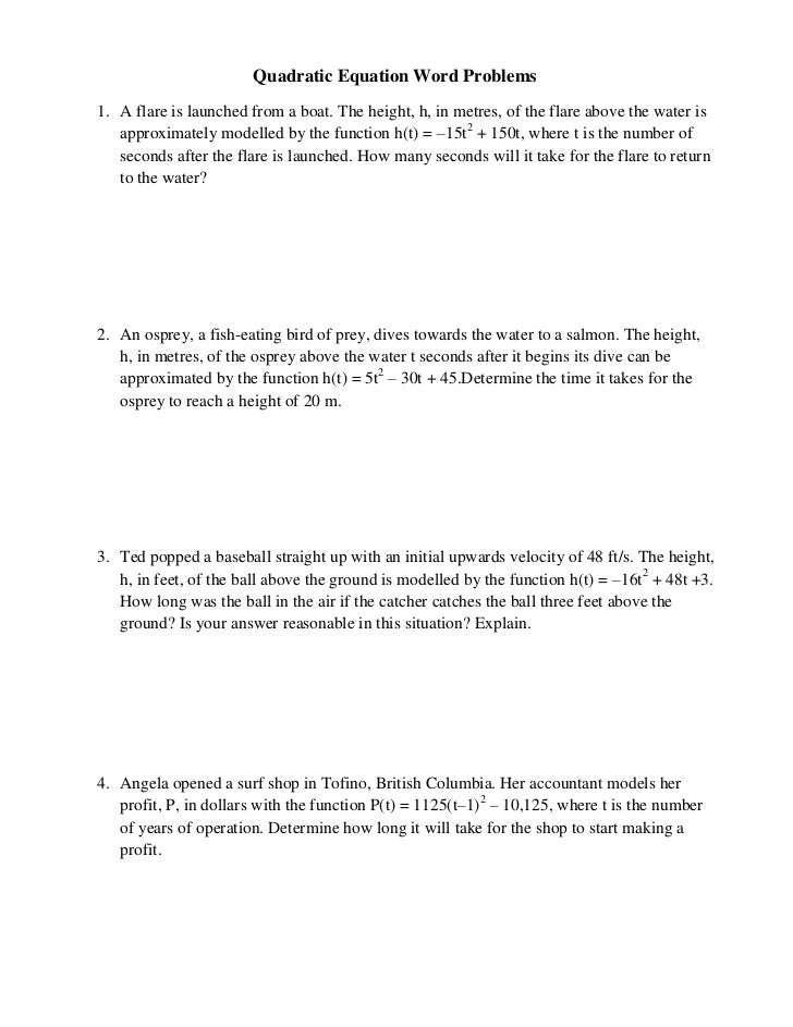 Printables Quadratic Word Problems Worksheet solving quadratic equations worksheet pdf literal algebra 1 word problem worksheets with answer key two step