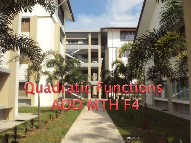 Quadratic functipns quiz f4 add mth