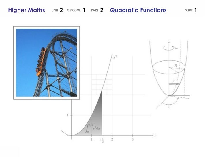 SLIDE Higher Maths  2  1  2  Quadratic Functions UNIT OUTCOME PART