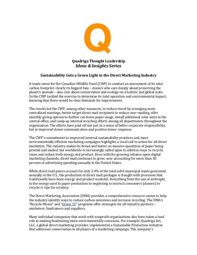 Quadriga Thought Leadership Ideas & Insights Series Sustainability Gets a Green Light in the Direct Marketing Industry It ...