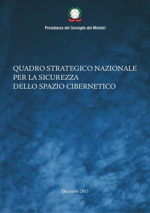 Quadro strategico nazionale per la sicurezza dello spazio cibernetico (Dicembre 2013)