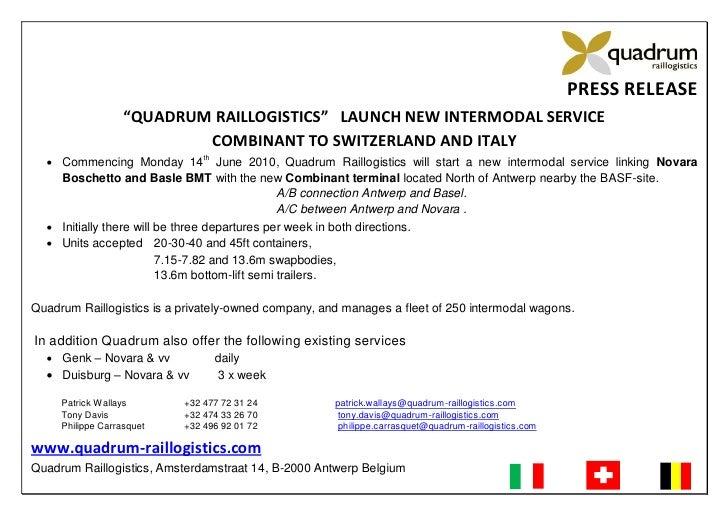 """PRESS RELEASE                    """"QUADRUM RAILLOGISTICS"""" LAUNCH NEW INTERMODAL SERVICE                            COMBINAN..."""