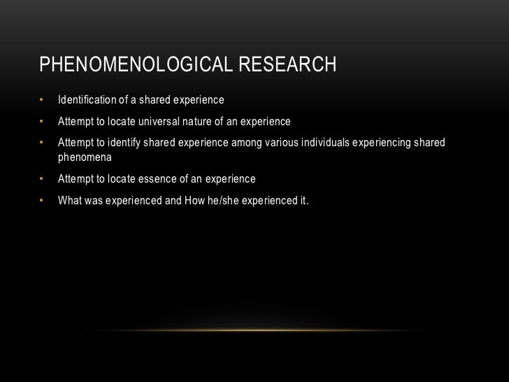 phenomenology research design Phenomenology studies focus on experiences, events and occurrences with disregard or minimum regard for the external and physical reality important elements of dissertations such as research philosophy, research approach, research design, methods of data collection and data analysis are explained in this e-book in.