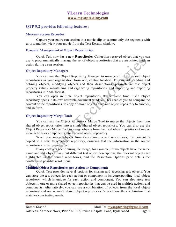 VLearn Technologies                               www.mysaptesting.comQTP 9.2 provides following features:Mercury Screen R...