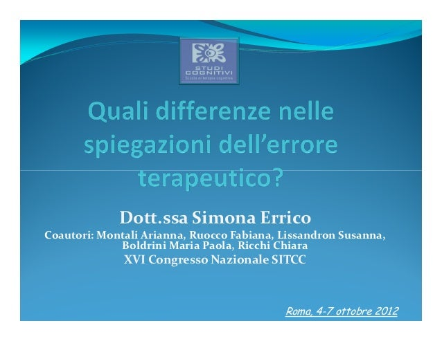 Dott.ssa Simona ErricoCoautori: Montali Arianna, Ruocco Fabiana, Lissandron Susanna,             Boldrini Maria Paola, Ric...