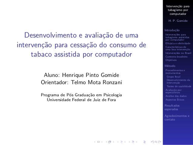 Desenvolvimento e avaliação de uma intervenção para cessação do consumo de tabaco assistida por computador