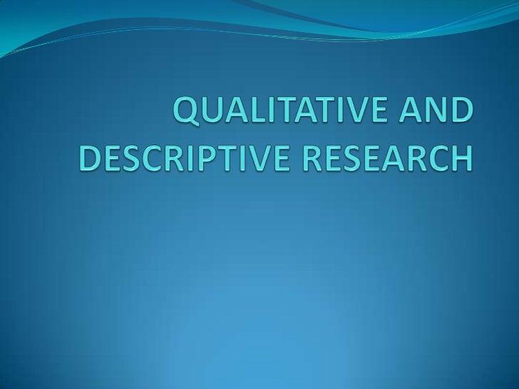descriptive qualitative research