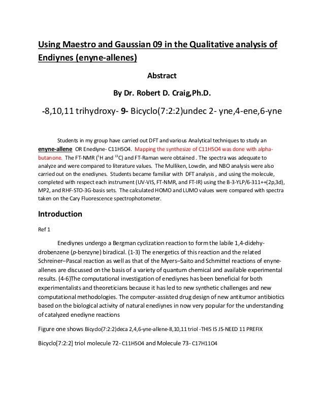 Qualitative and  dft analysis of endiynes