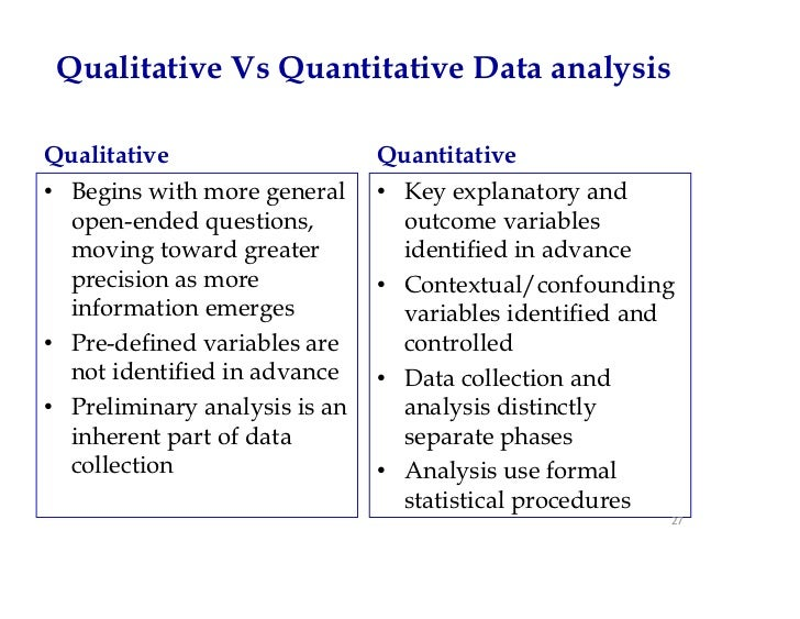 data analysis in qualitative and quantitative research In this lesson, we identify the differences between quantitative and qualitative research methods in the social sciences we also discuss the.