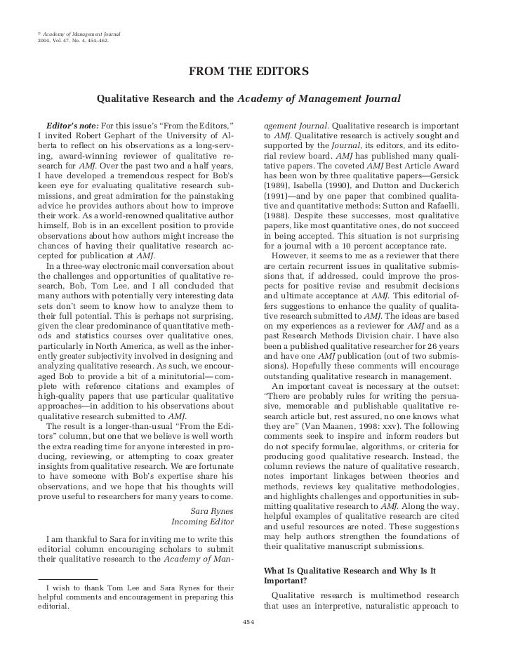 Academy of Management Journal2004, Vol. 47, No. 4, 454–462.                                         FROM THE EDITORS      ...