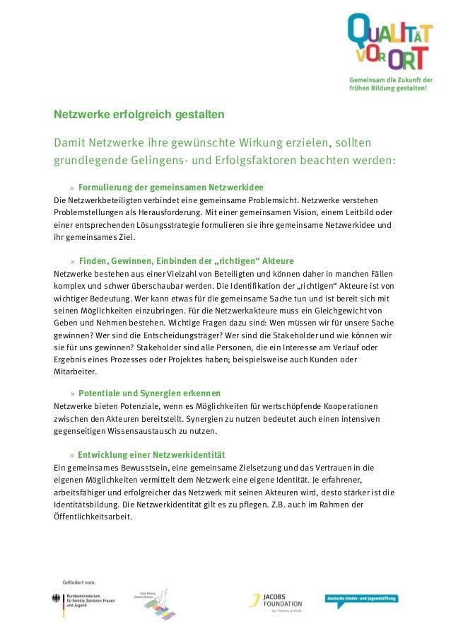 Netzwerke erfolgreich gestalten Damit Netzwerke ihre gewünschte Wirkung erzielen, sollten grundlegende Gelingens- und Erfo...