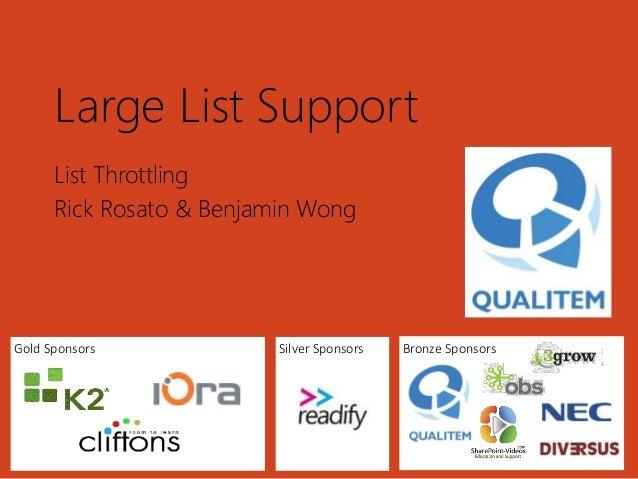 Qualitem - Large List Support - SharePoint Saturday
