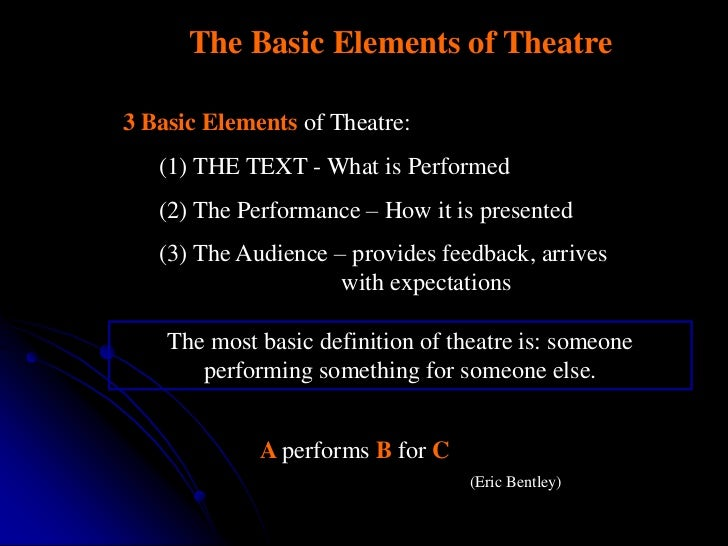 The Basic Elements of Theatre3 Basic Elements of Theatre:   (1) THE TEXT - What is Performed   (2) The Performance – How i...