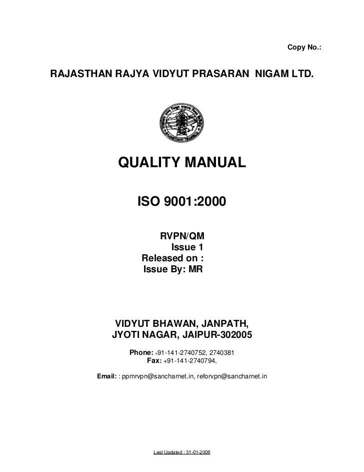 Copy No.:RAJASTHAN RAJYA VIDYUT PRASARAN NIGAM LTD.             QUALITY MANUAL                   ISO 9001:2000            ...