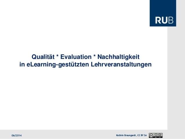 Qualität * Evaluation * Nachhaltigkeit in eLearning-gestützten Lehrveranstaltungen  12/2013  Kathrin Braungardt, CC BY SA