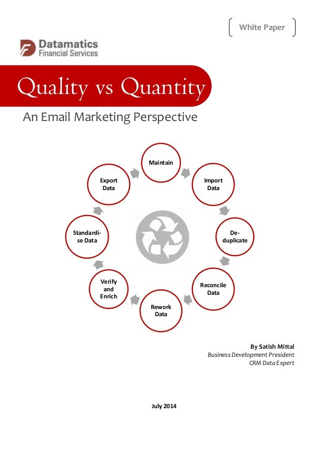 an analysis of the topic of the quality versus quantity The truth about quantity vs quality quantity vs quality is one better than the other how do you find the balance between writing in quantity and in quality read on to find out is one.