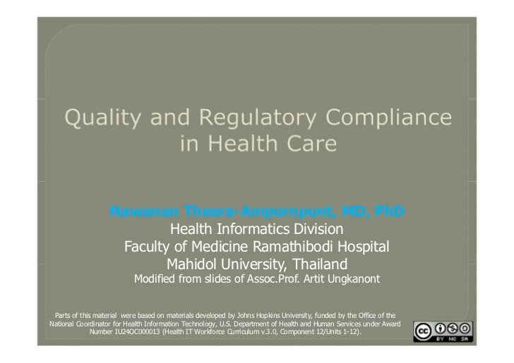Quality and Regulatory Compliance in Health Care
