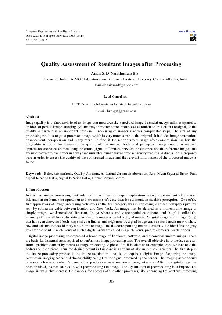 Quality assessment of resultant images after processing