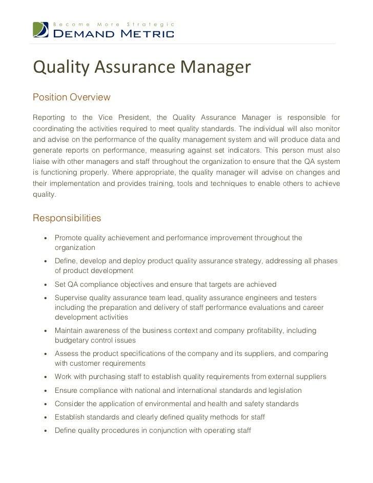 quality assurance manager job description