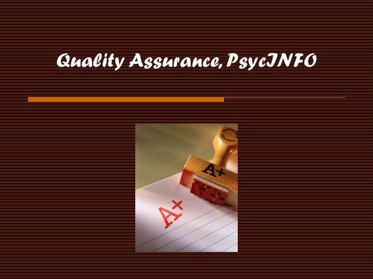 Quality Assurance, PsycINFO