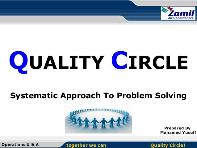 QUALITY CIRCLE Systematic Approach To Problem Solving  Prepared By Mohamed Yusuff Operations U & A  together we can  Quali...