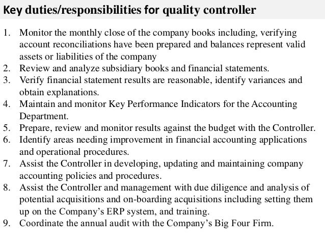 Quality controller resume