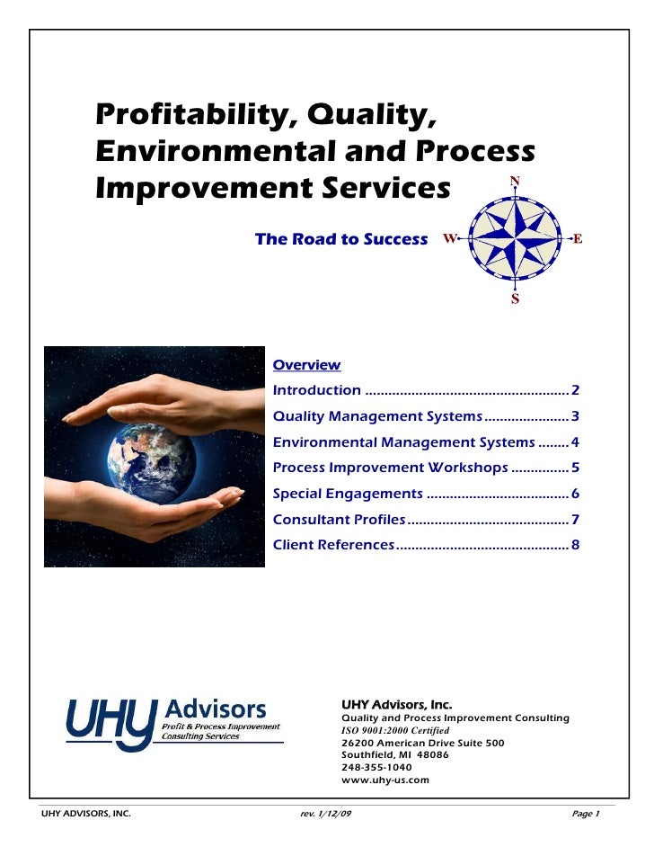 Profitability, Quality,           Environmental and Process           Improvement Services                      The Road t...