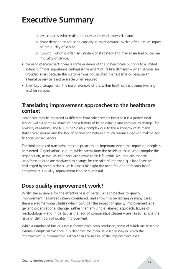 quality improvement theory and practice in healthcare