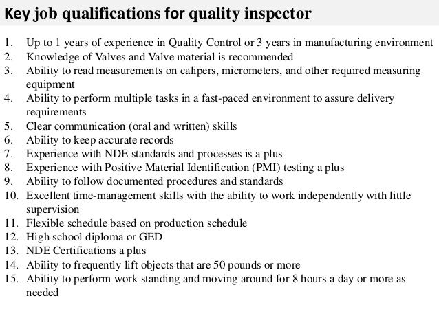 quality inspector job description