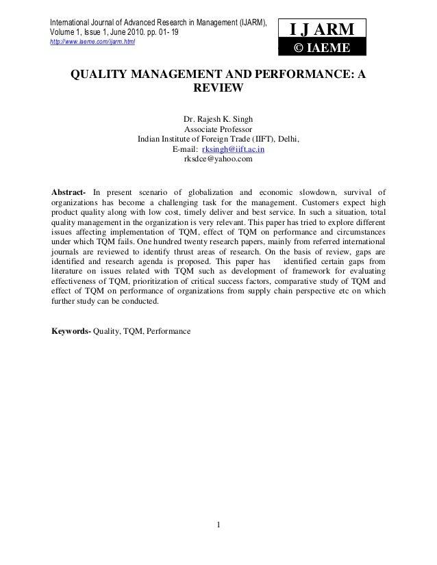 Quality management and performance a review