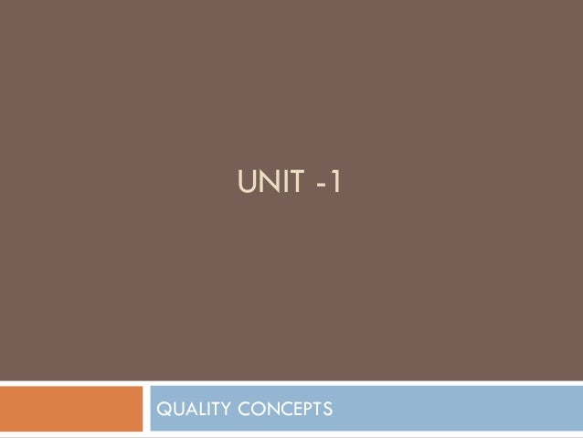 UNIT -1QUALITY CONCEPTS