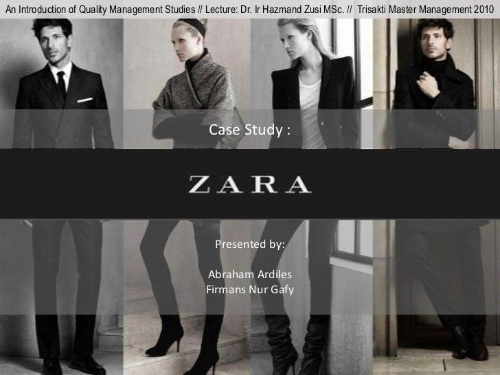 An Introduction of Quality Management Studies // Lecture: Dr. Ir Hazmand Zusi MSc. // Trisakti Master Management 2010     ...