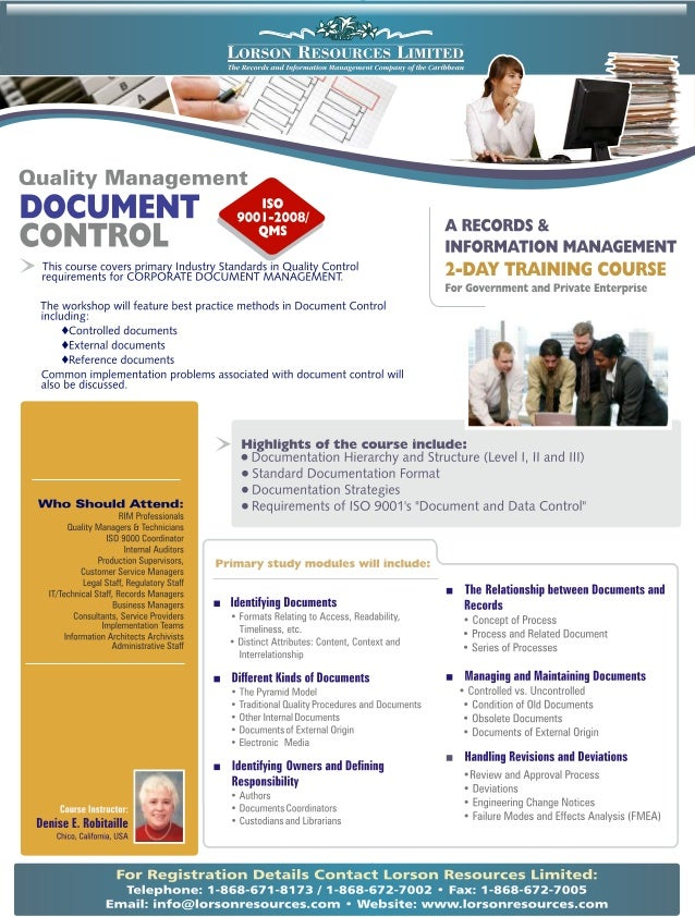 Course Outline - Quality Management QMS ISO 9001:2008 - Document Control