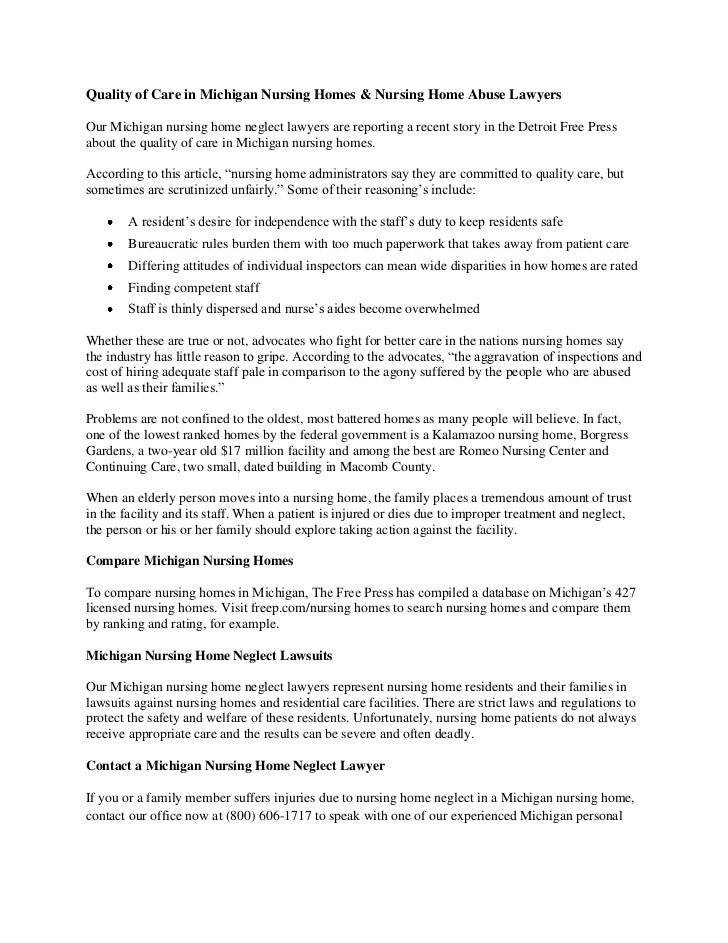 Quality of Care in Michigan Nursing Homes & Nursing Home Abuse LawyersOur Michigan nursing home neglect lawyers are report...