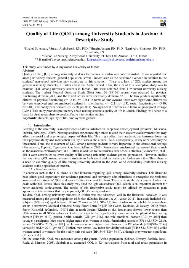 Journal of Education and Practice www.iiste.org ISSN 2222-1735 (Paper) ISSN 2222-288X (Online) Vol.4, No.11, 2013 161 Qual...