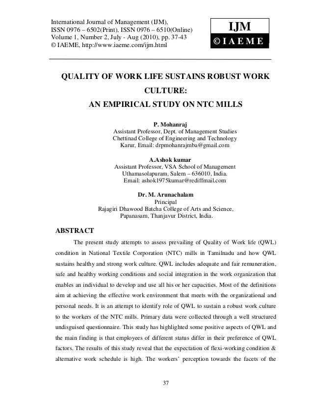 Quality of work life sustains robust work culture an empirical study on ntc mills