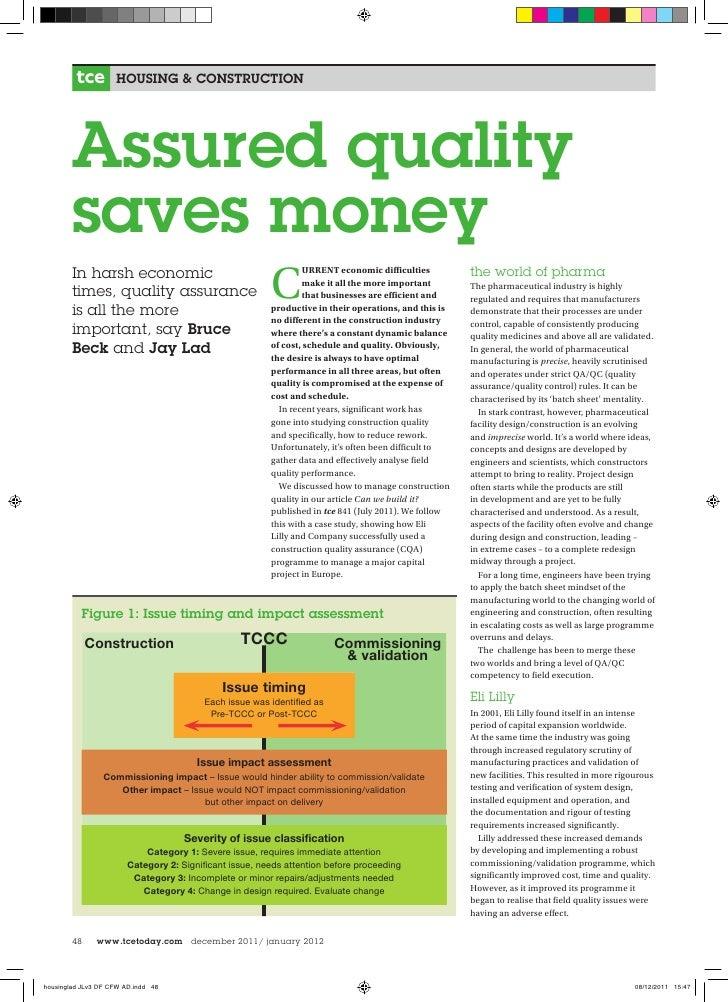 Assured Quality Saves Money