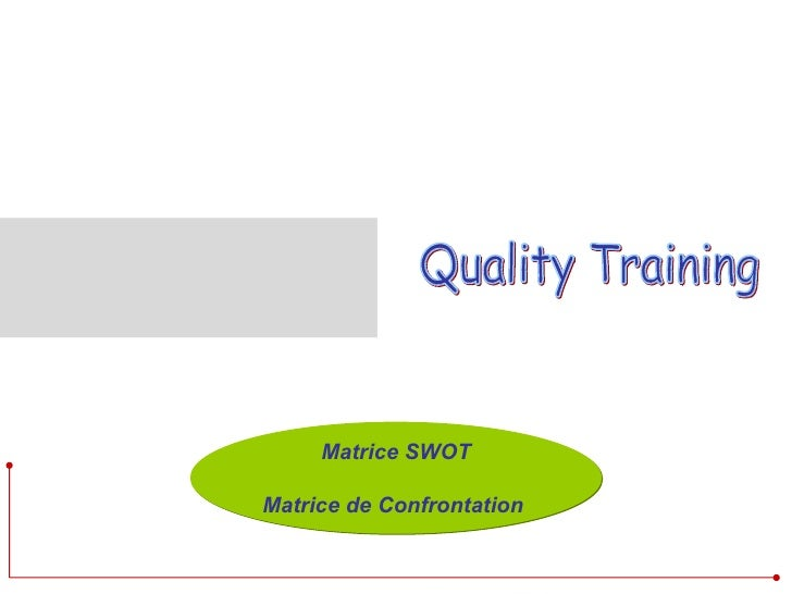 Quality Training  Matrice SWOT Matrice de Confrontation