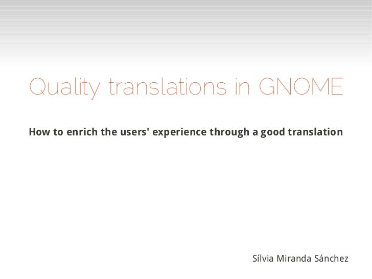 Quality translations in GNOME