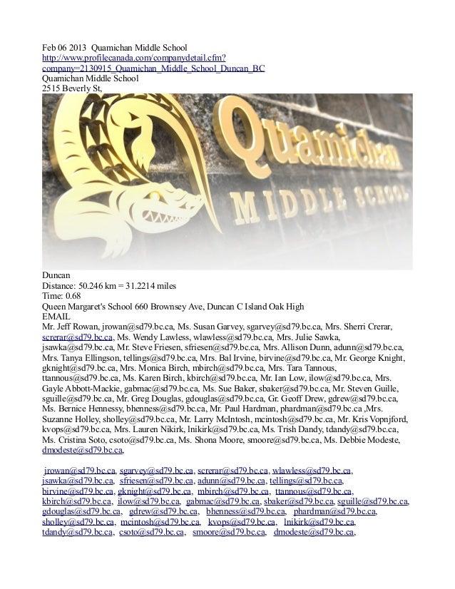 Feb 06 2013 Quamichan Middle Schoolhttp://www.profilecanada.com/companydetail.cfm?company=2130915_Quamichan_Middle_School_...